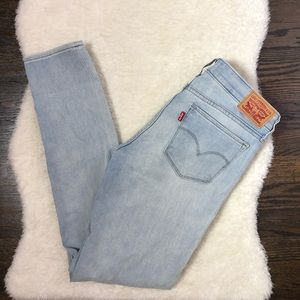 Levi's Light Wash Distressed 711 Skinny Jeans